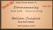 Save 15% - Dine in Only - Donnamaries